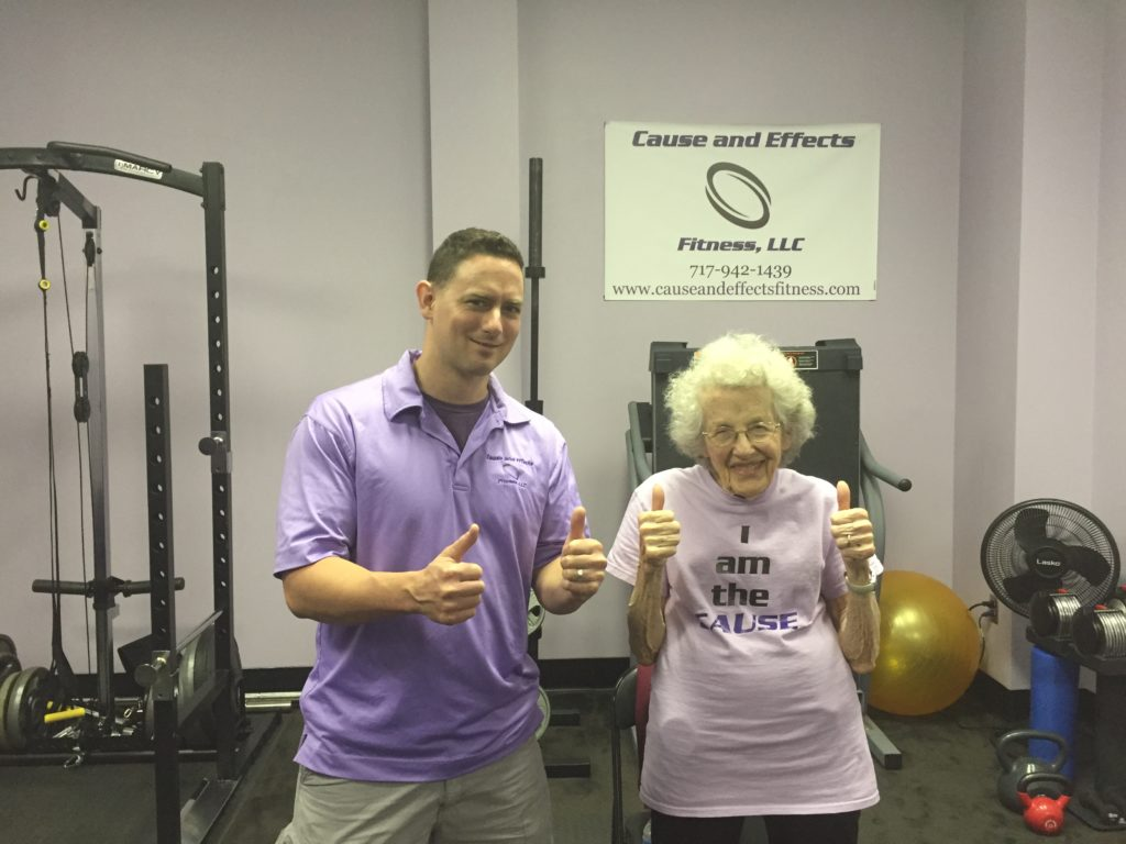 Doris-Jean, 92, with her personal trainer, Coach Chad