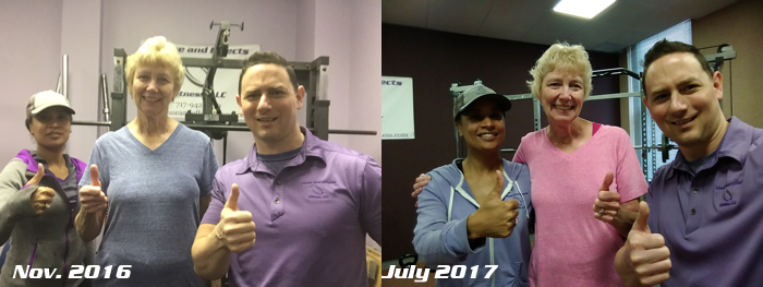 Personal Training Client Miriam Thumbs Up Comparison